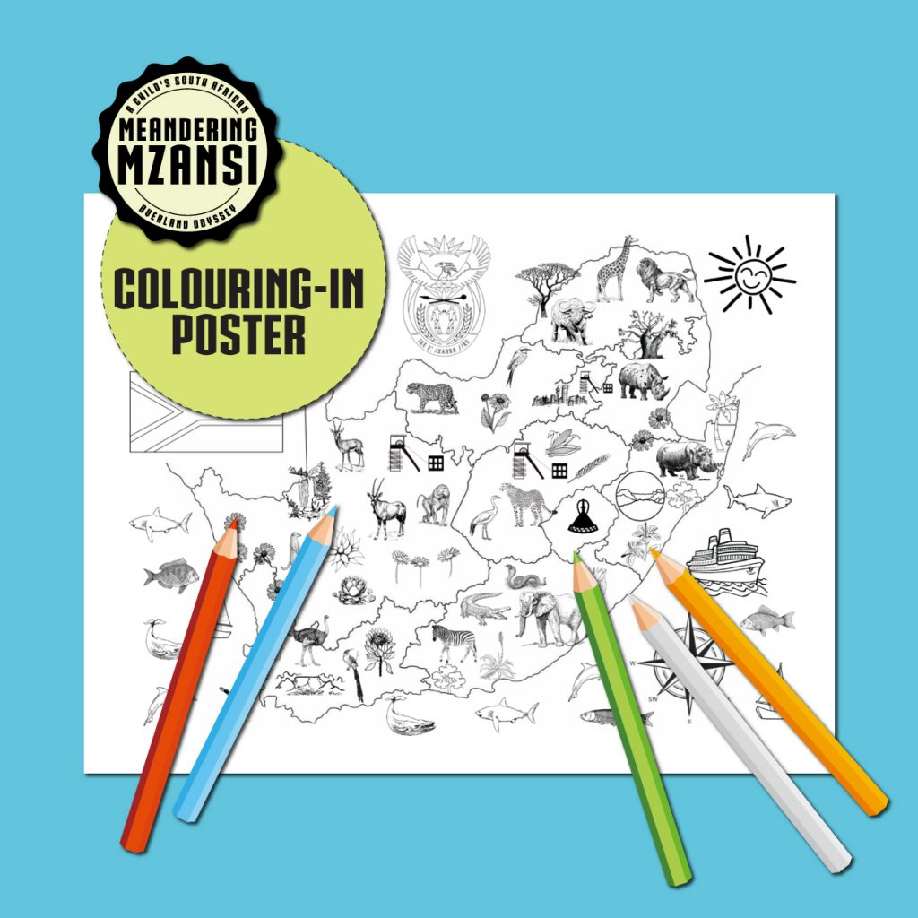 Meandering Mzansi Colouring-in Poster